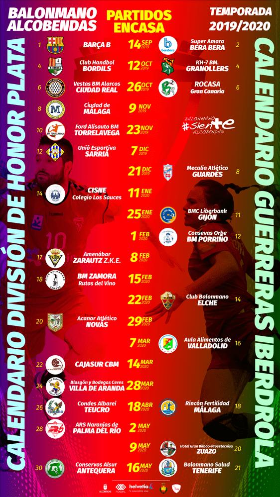 Calendario partidos primeros equipos